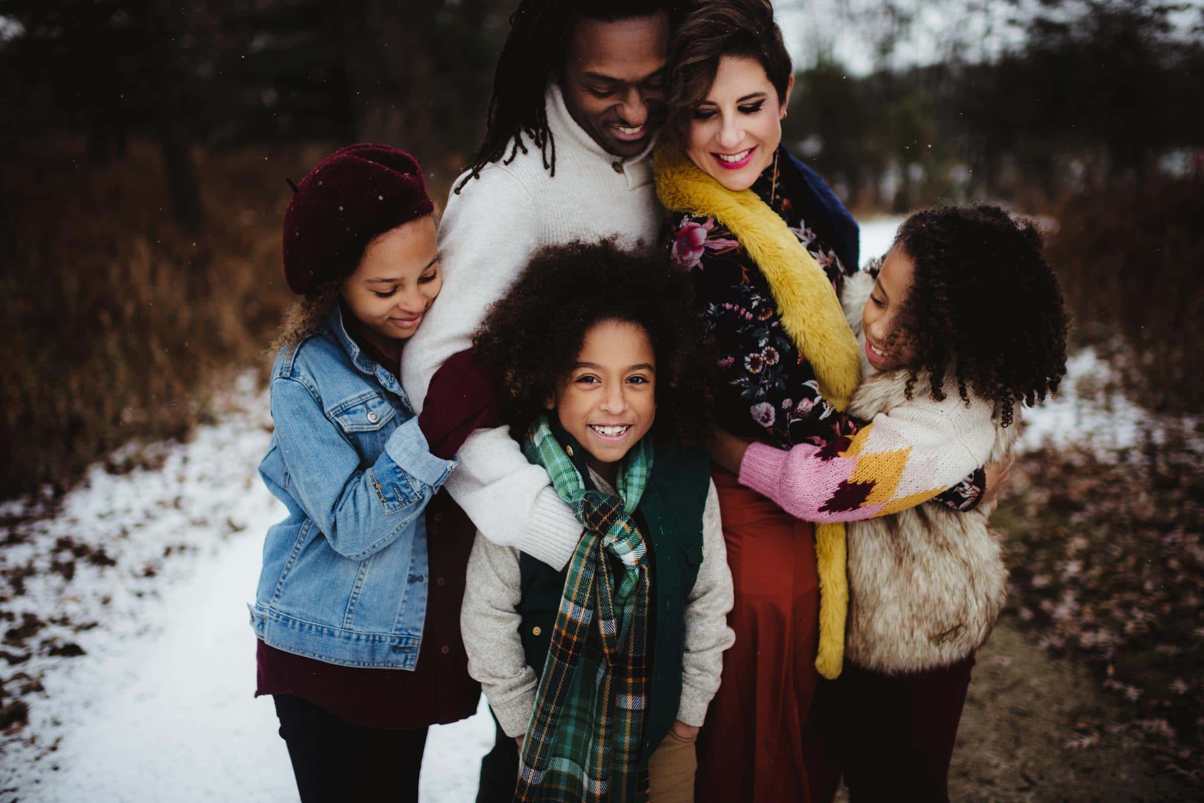 Family on Path in Snow