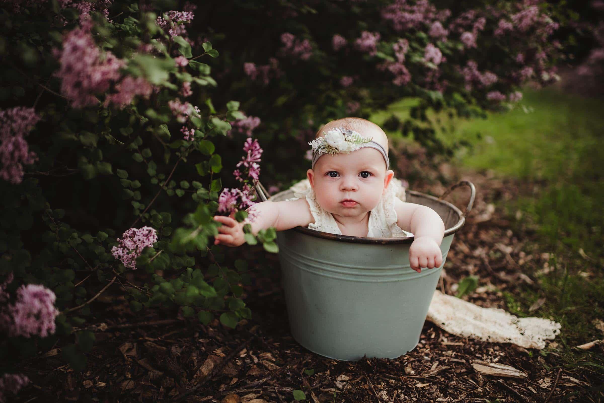Baby Girl in Bucket Near Flowers