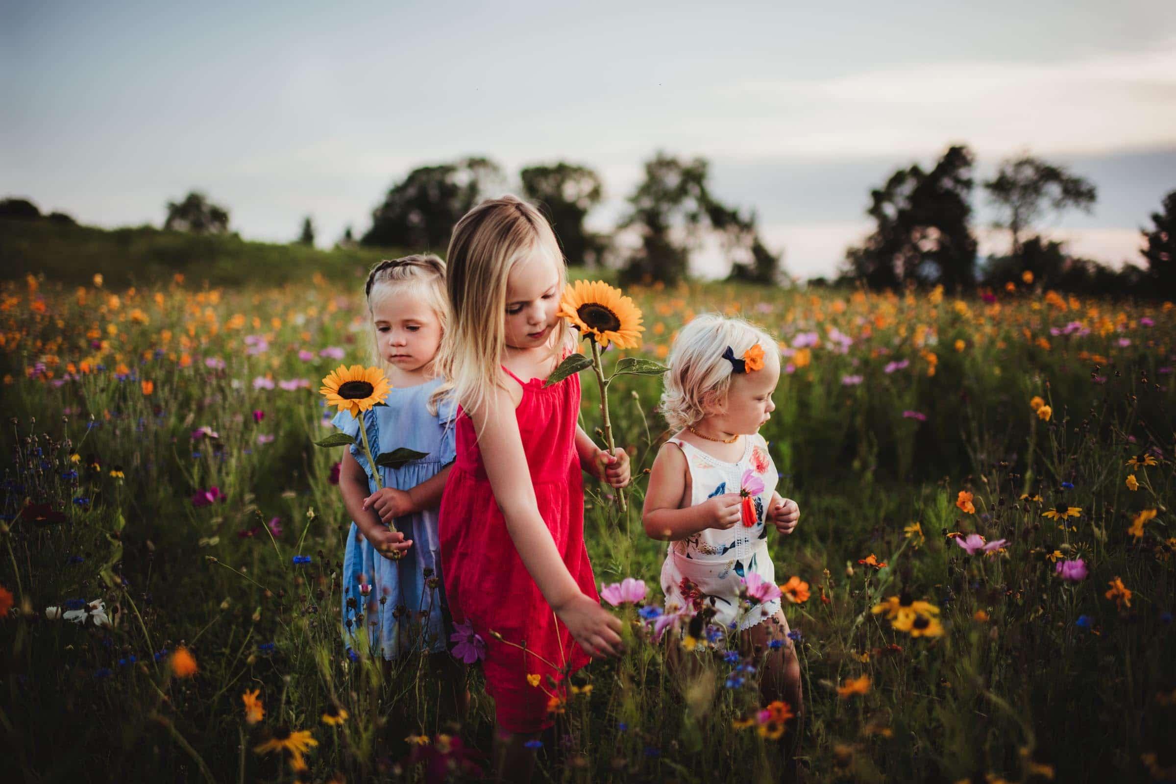 Kids in Sunflower Field