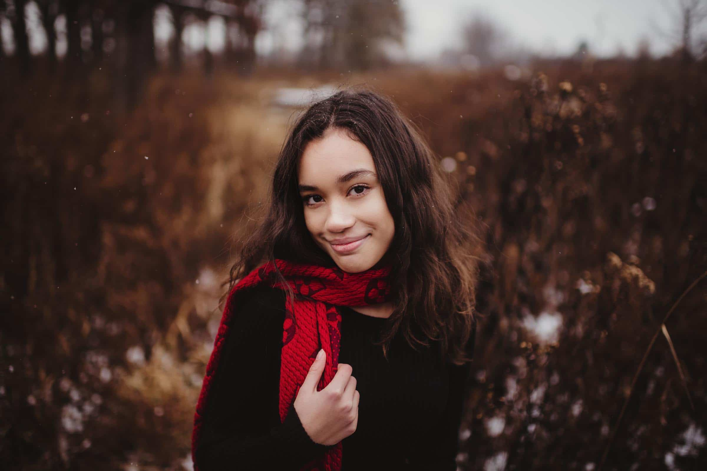 Close Up Woman in Red Scarf