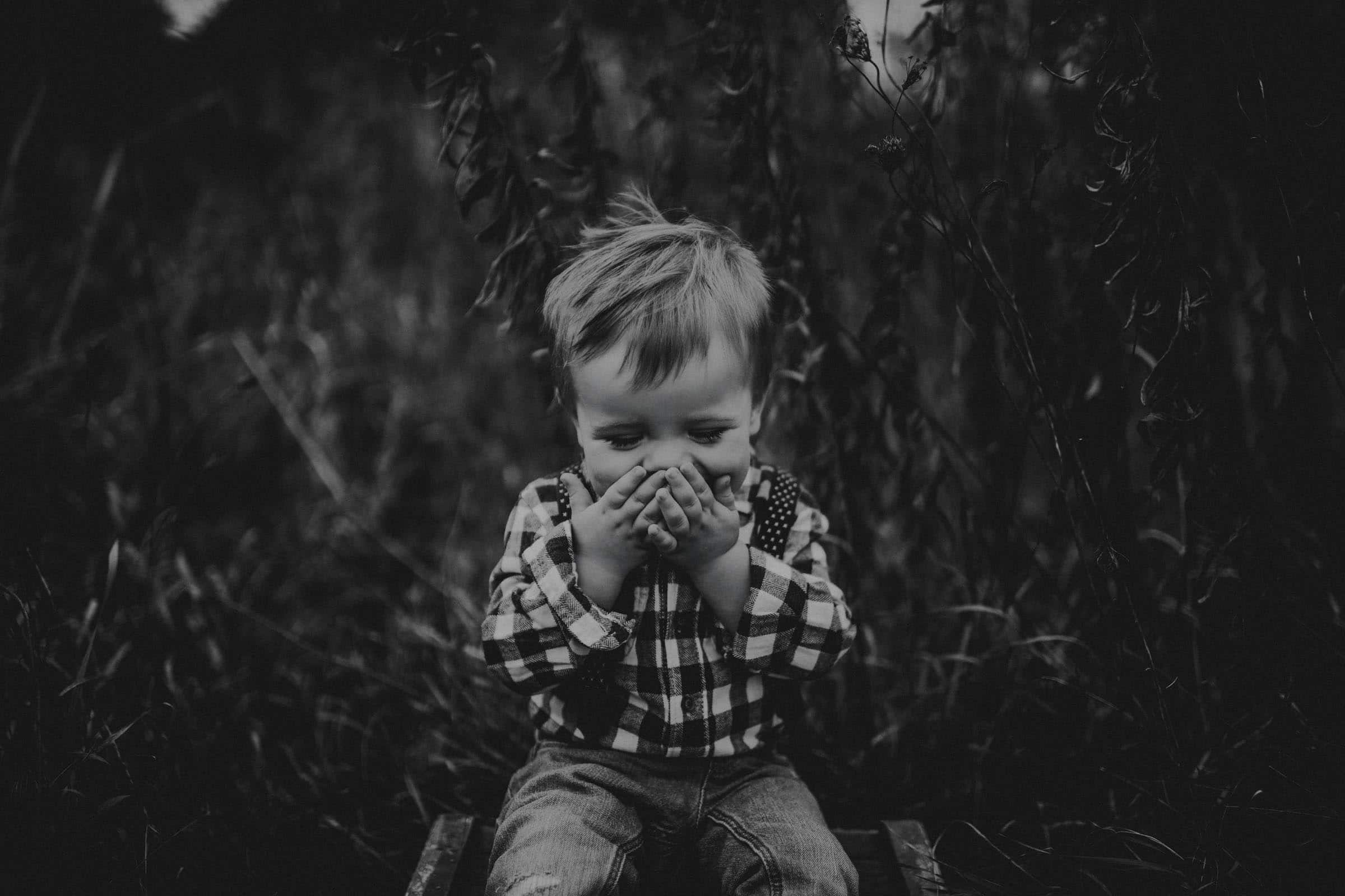 Black and White Image Little Boy Laughing