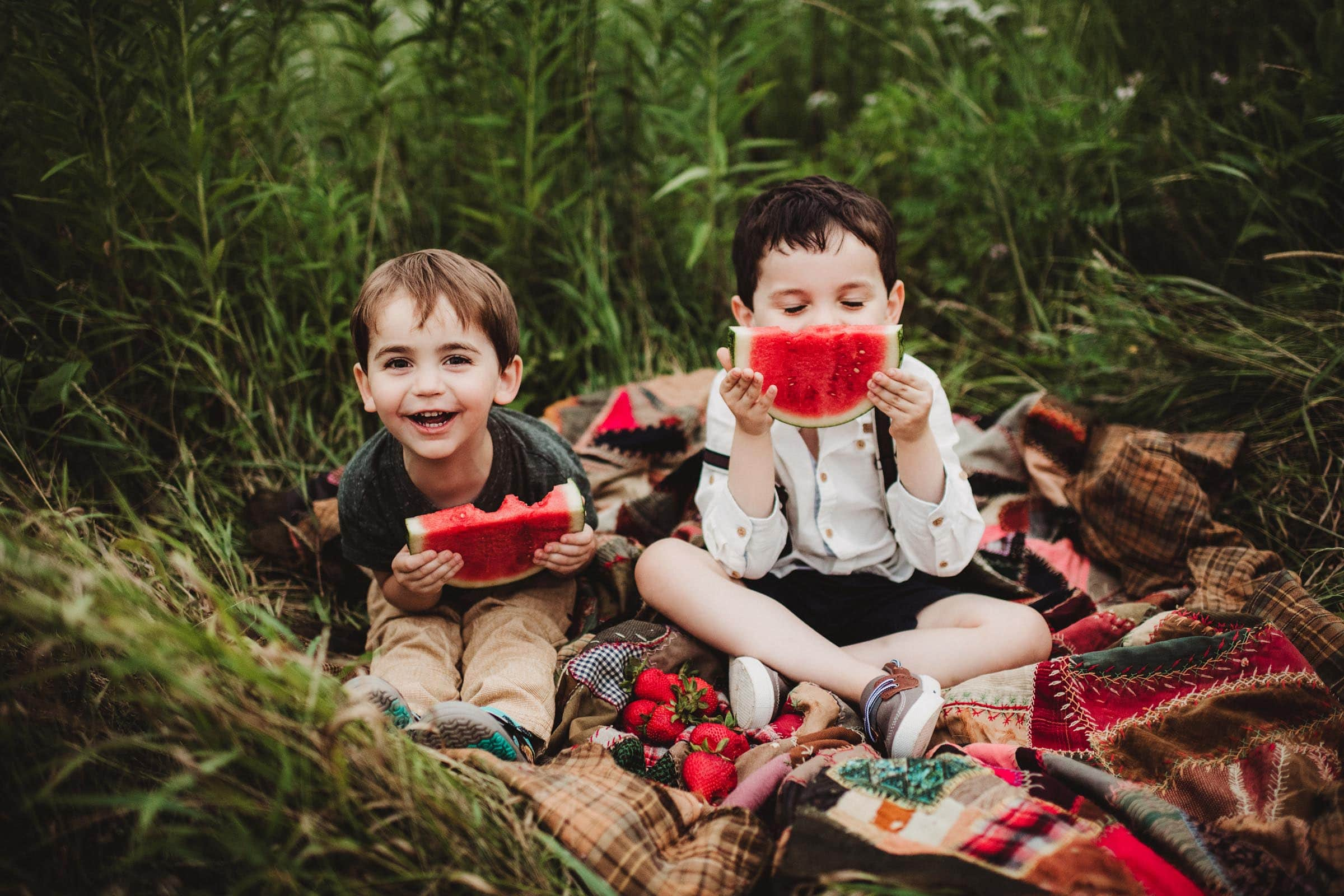 Little Boys Sitting on Quilt Eating Watermelon