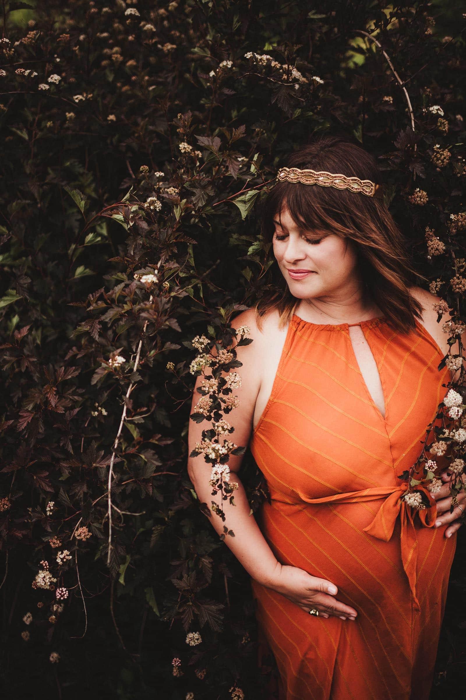Pregnant Woman Orange Dress