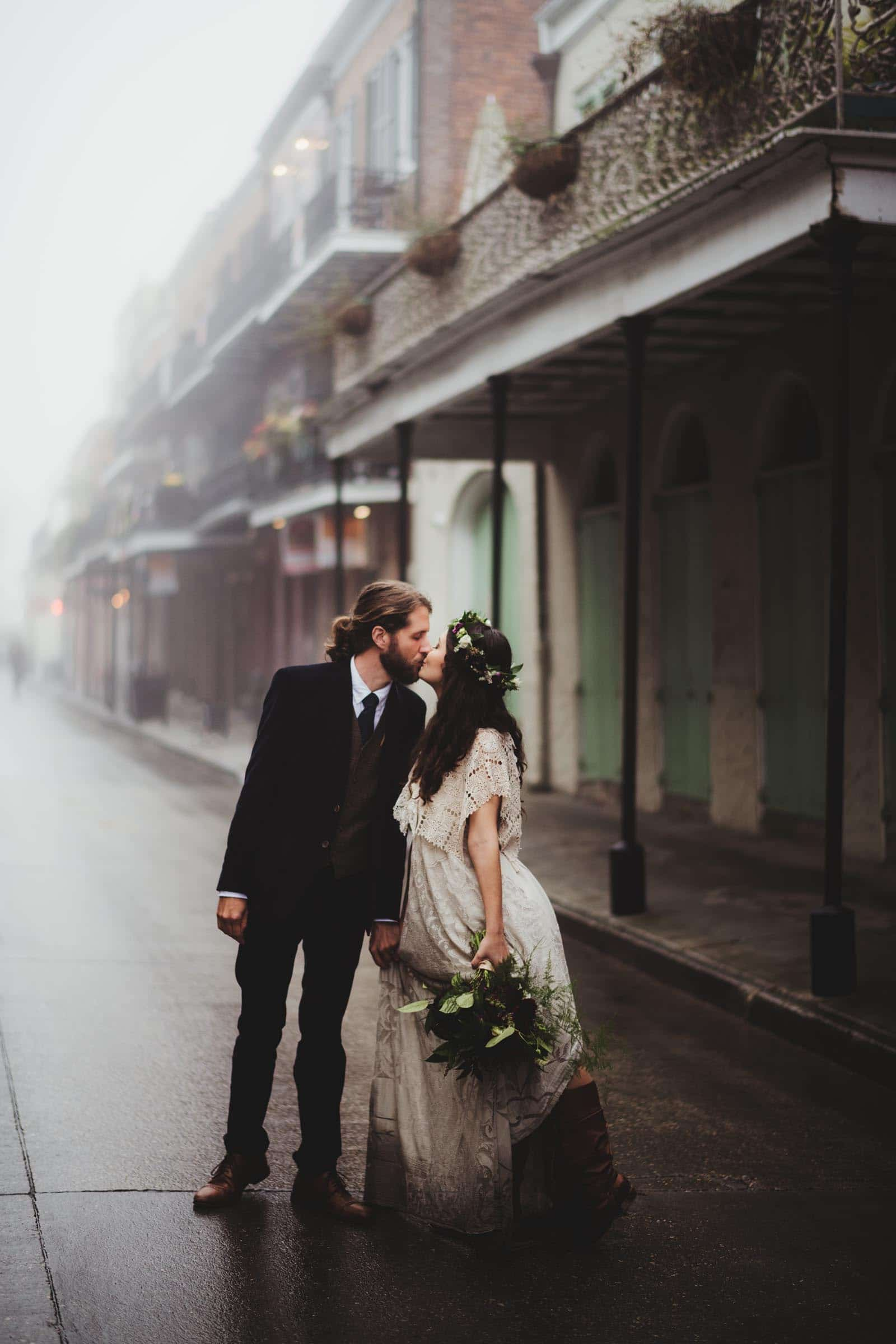 Bride Groom Kissing in Street