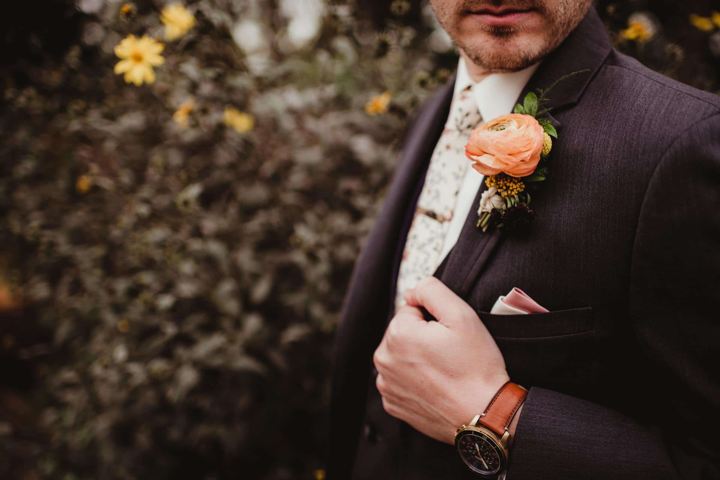 Close Up Groom's Boutonnières