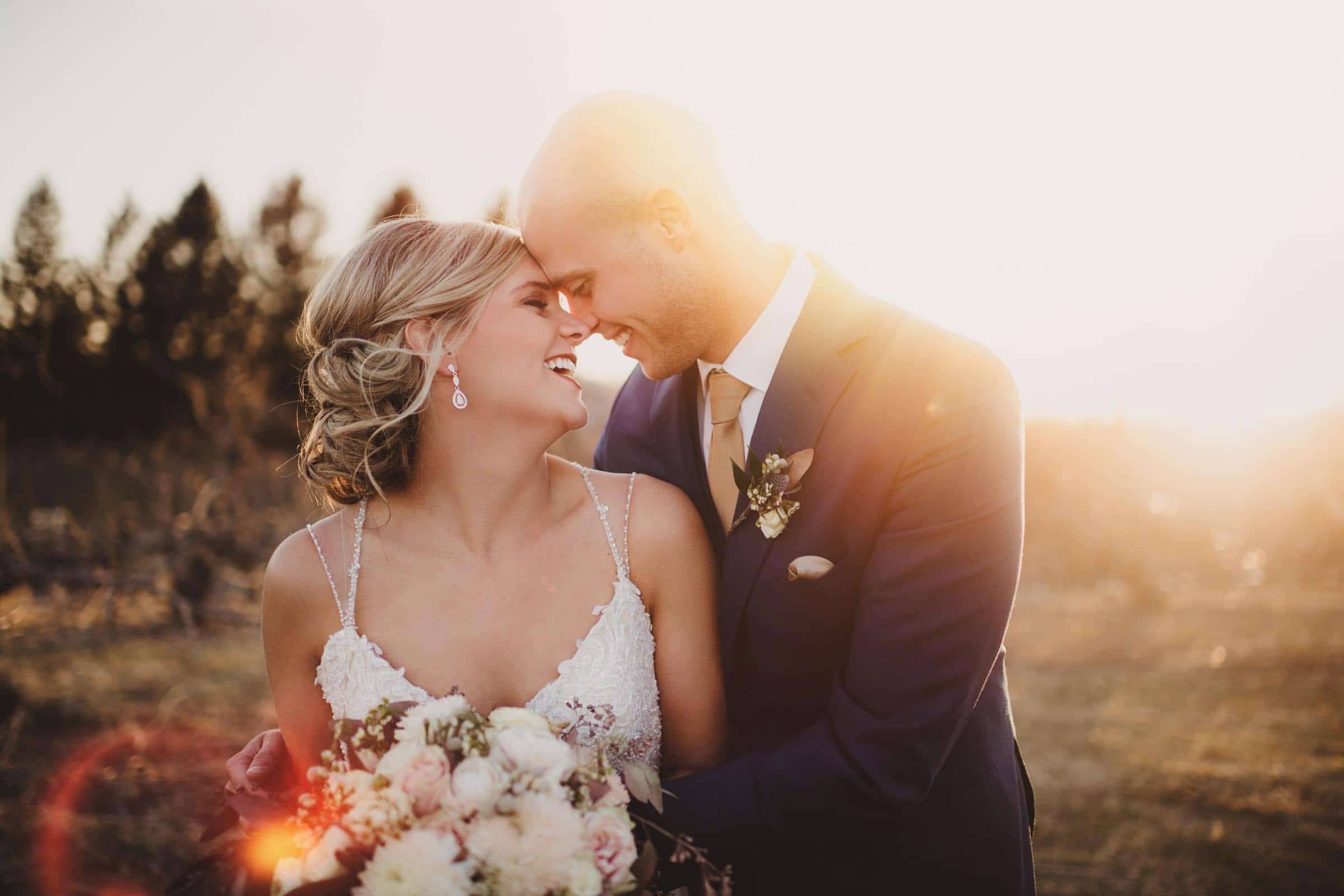 Bride Groom Touching Foreheads Smiling