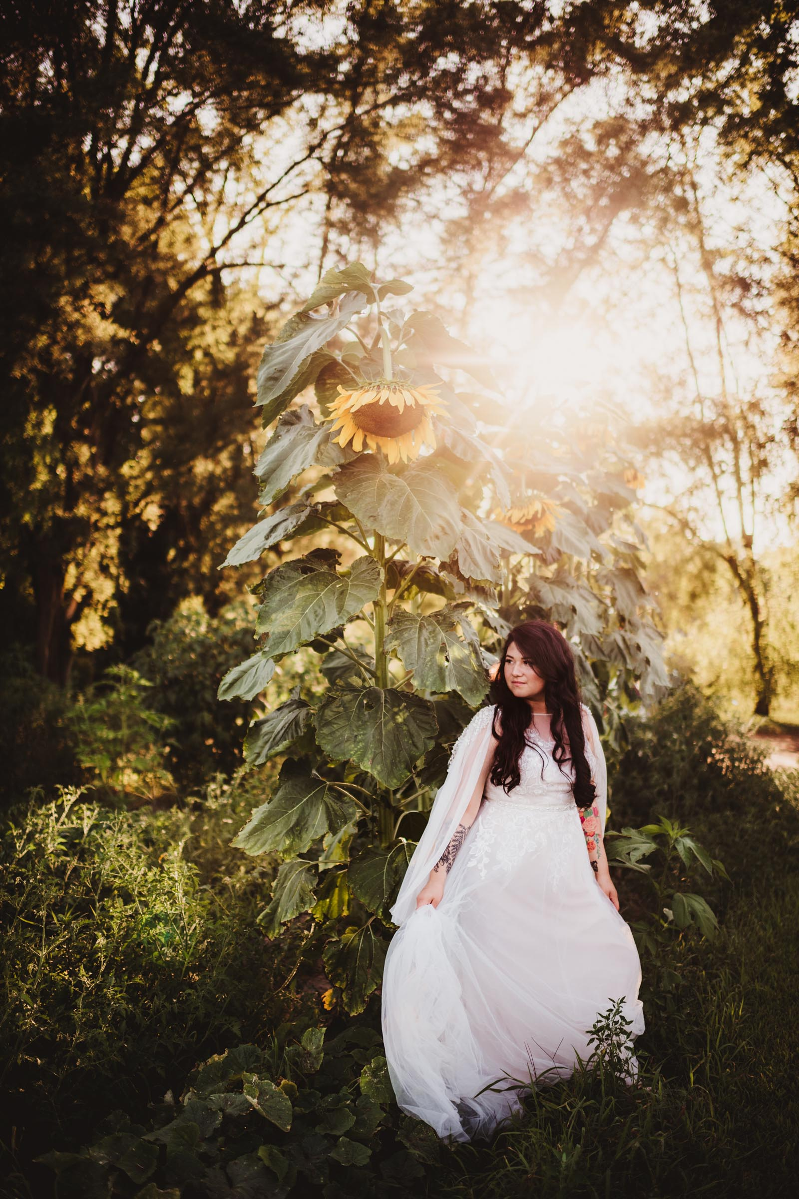 Bride in Sunflower Field