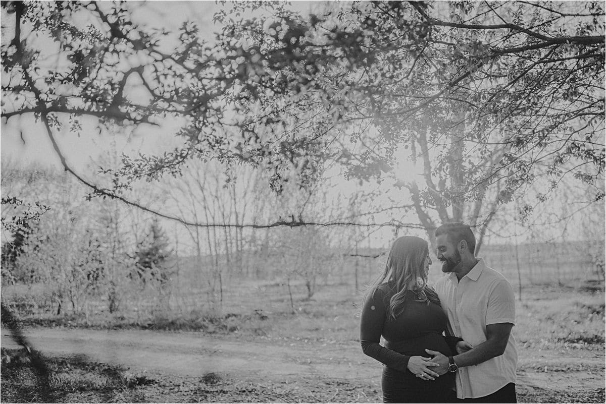 Black and White Image Maternity Couple