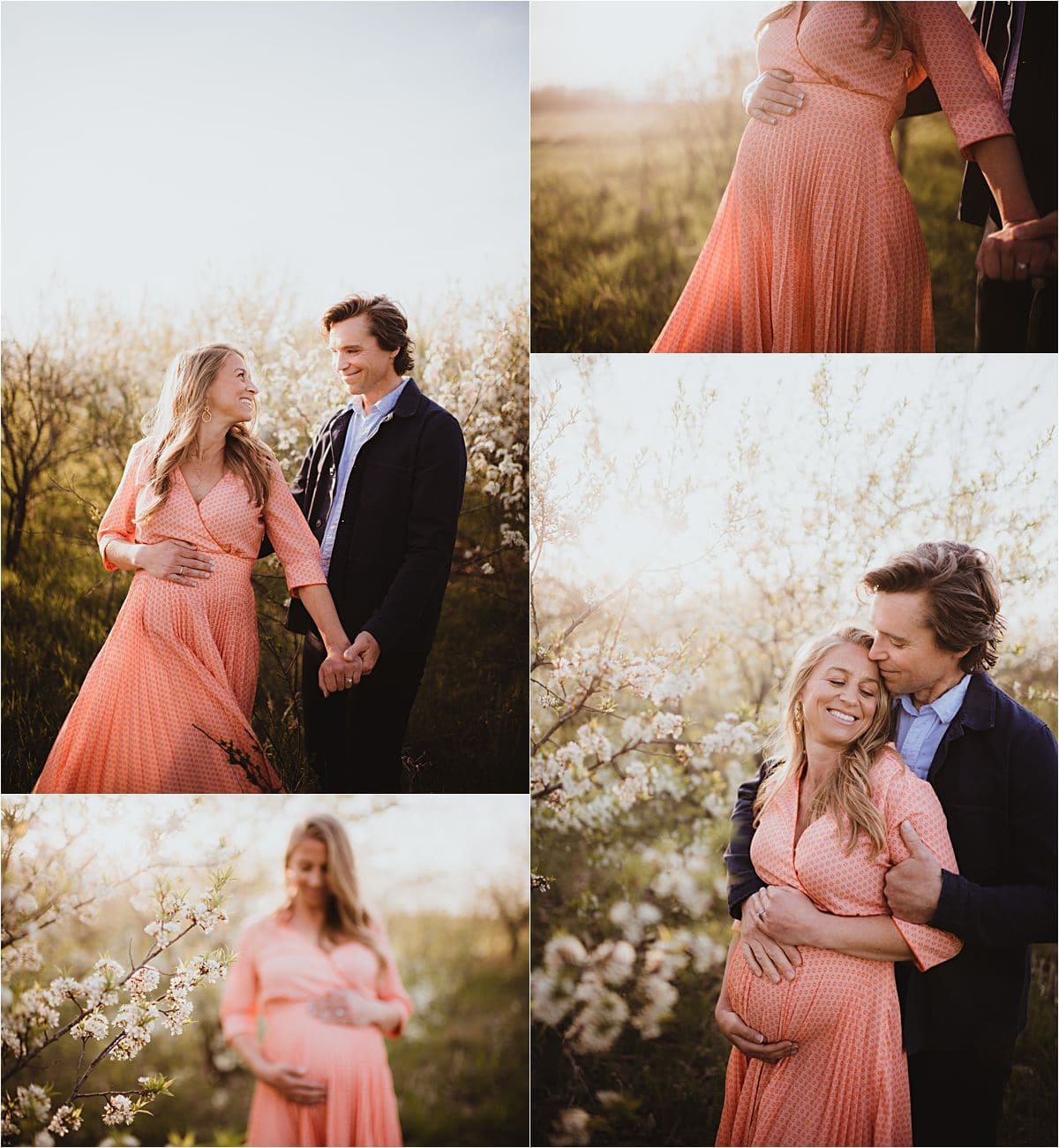 Spring Blooms Maternity Session at Sunset