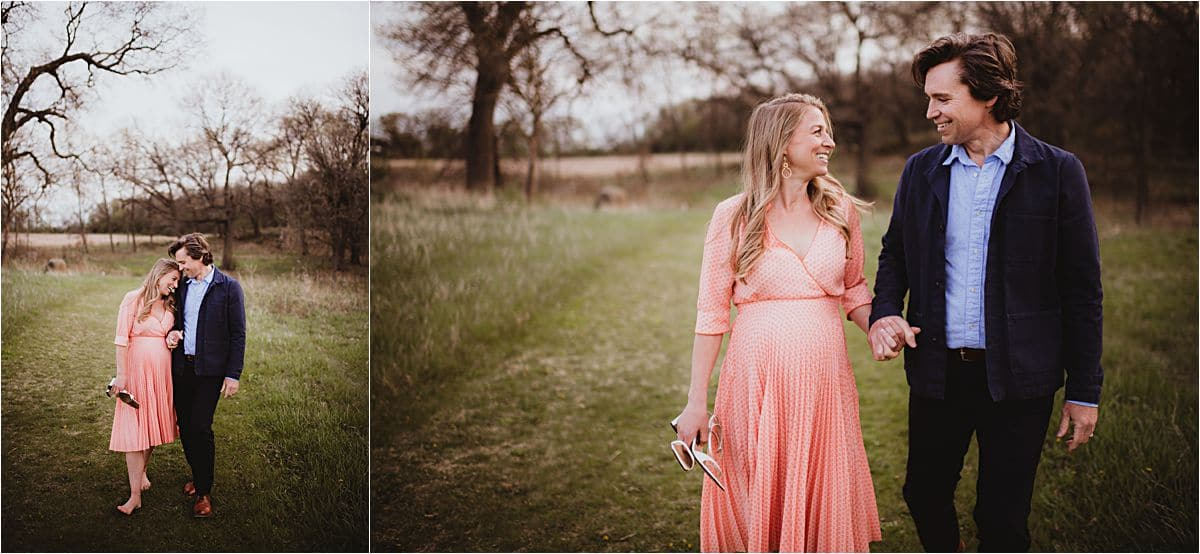 Spring Blooms Maternity Session Couple in Field