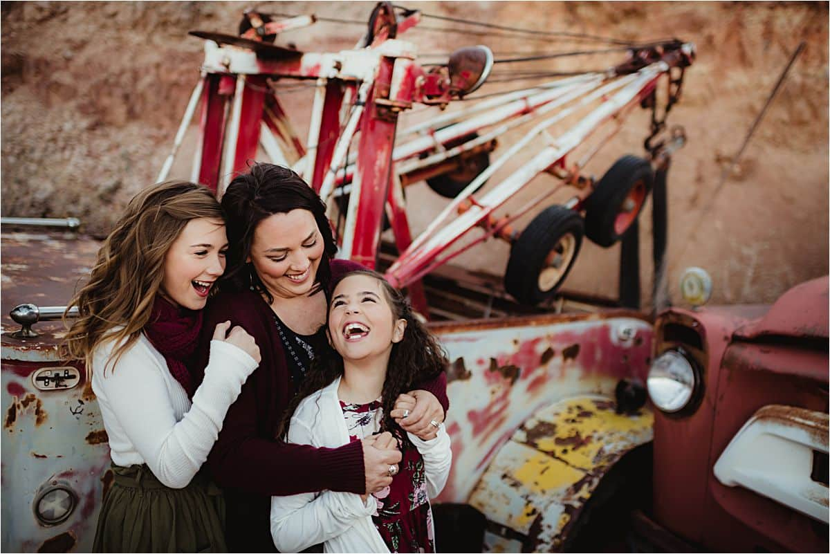 Winter Desert Family Session Mom with Laughing Daughters
