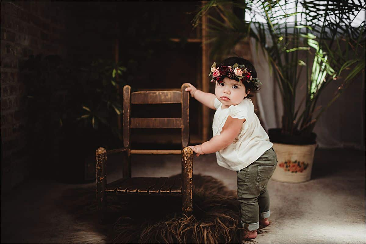 Baby Girl Standing with Chair
