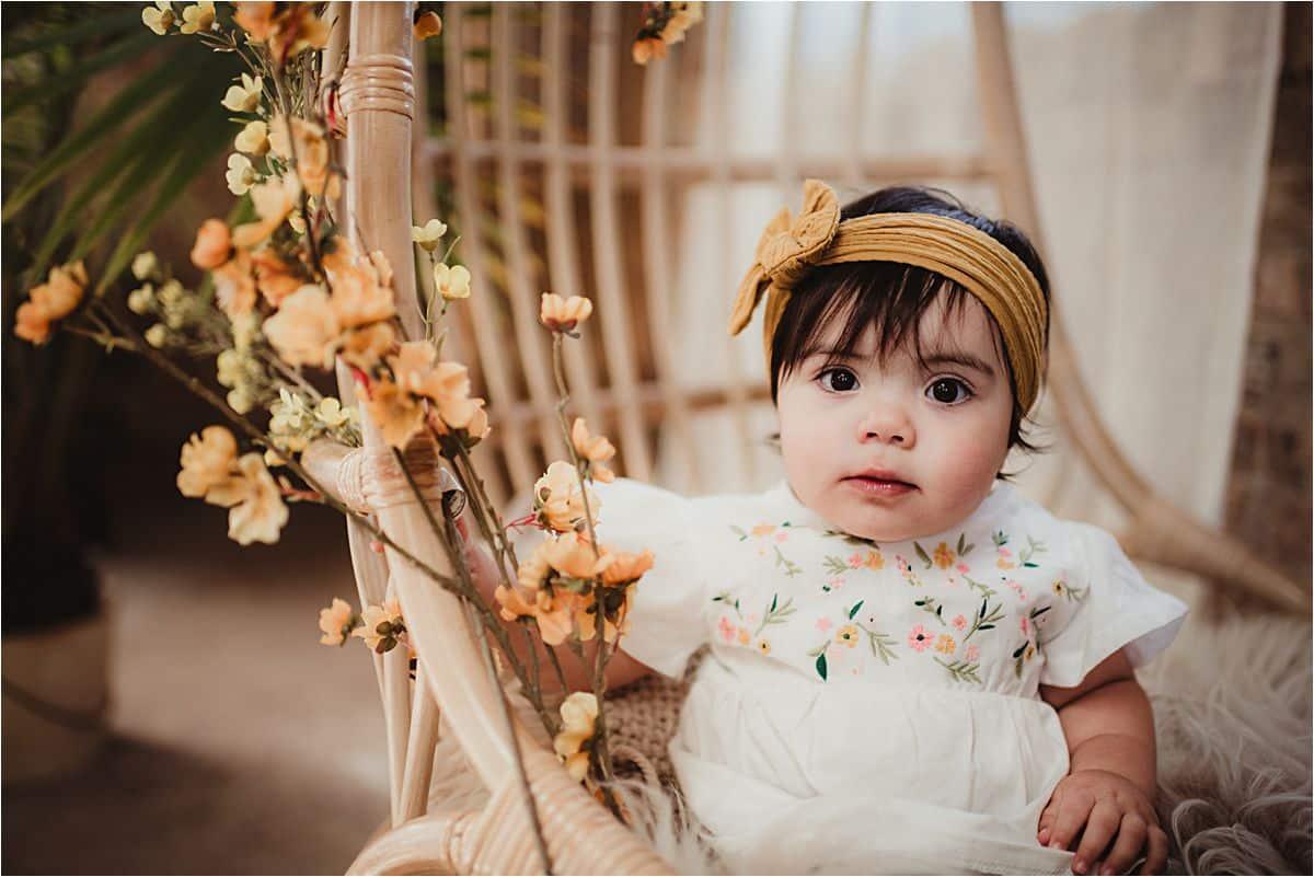 Spring Blooms Milestone Session Baby Girl Yellow Headband