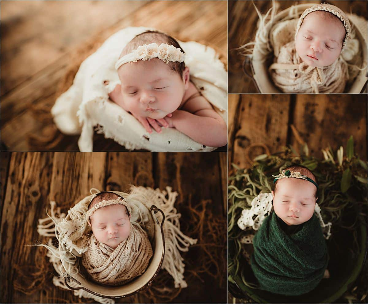 Botanical Newborn Session Girl in Different Wraps