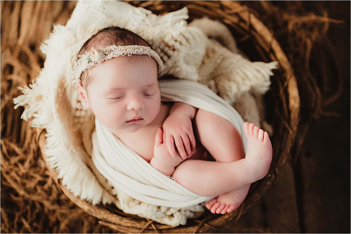 Botanical Newborn Session Girl in Basket