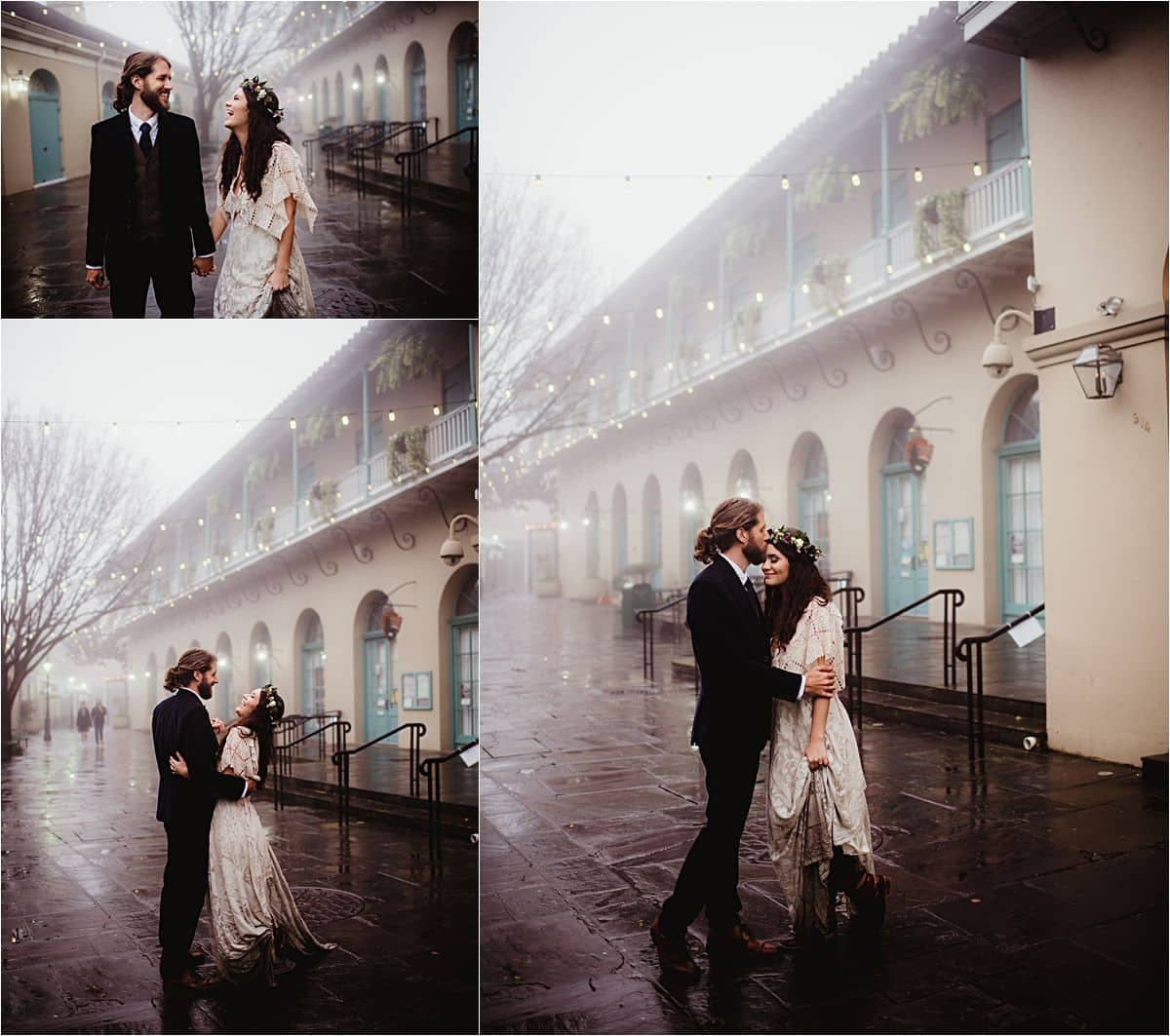 Rainy Day Stylized Wedding Bride and Groom on Street