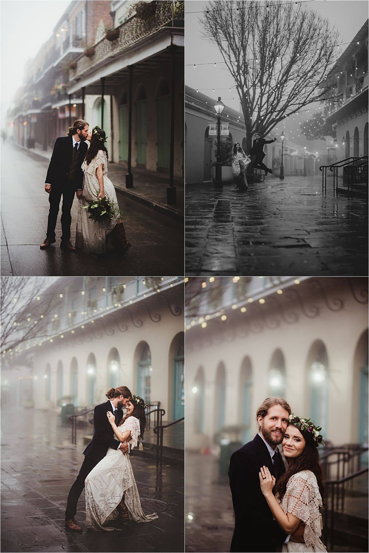 Rainy Day Stylized Wedding Couple on Misty Street