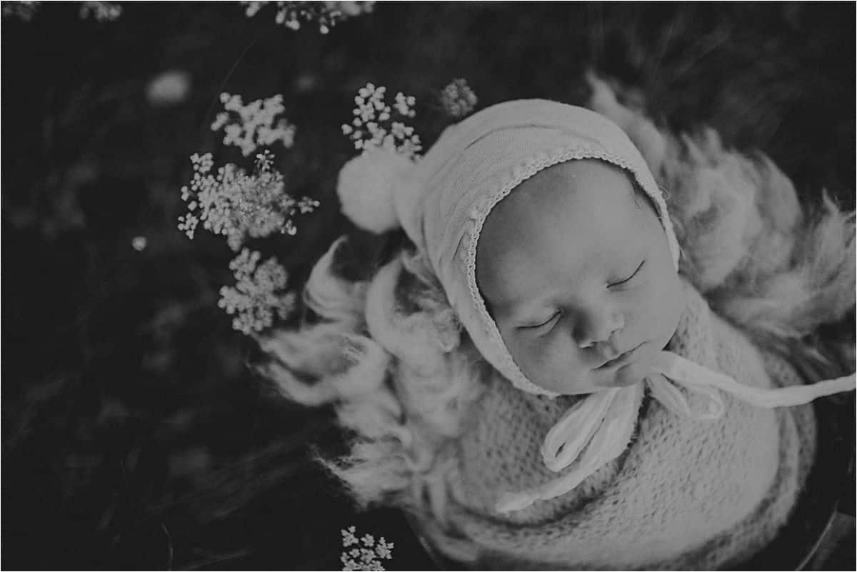 Black and White Image Newborn Boy