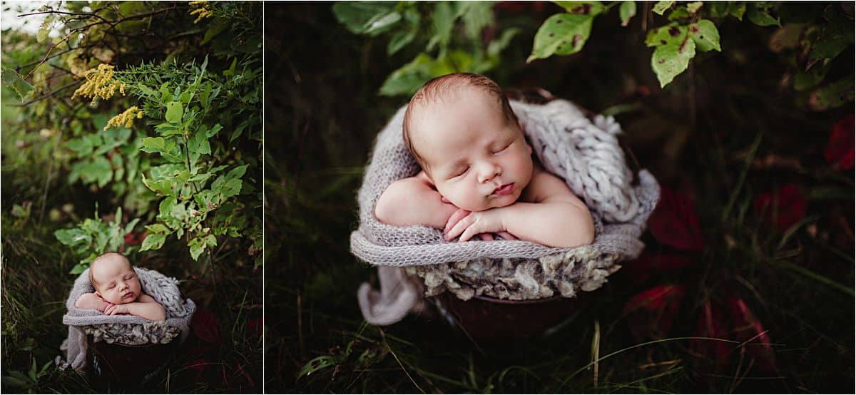 Spring Sunset family Session Newborn Boy in Greenery