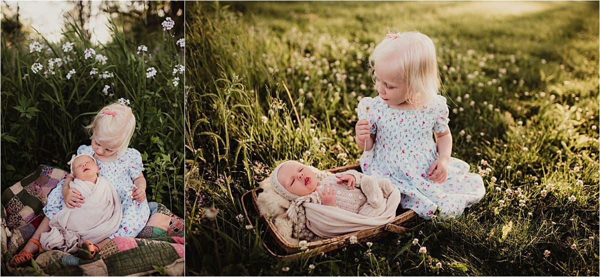 Family Newborn Session Sisters