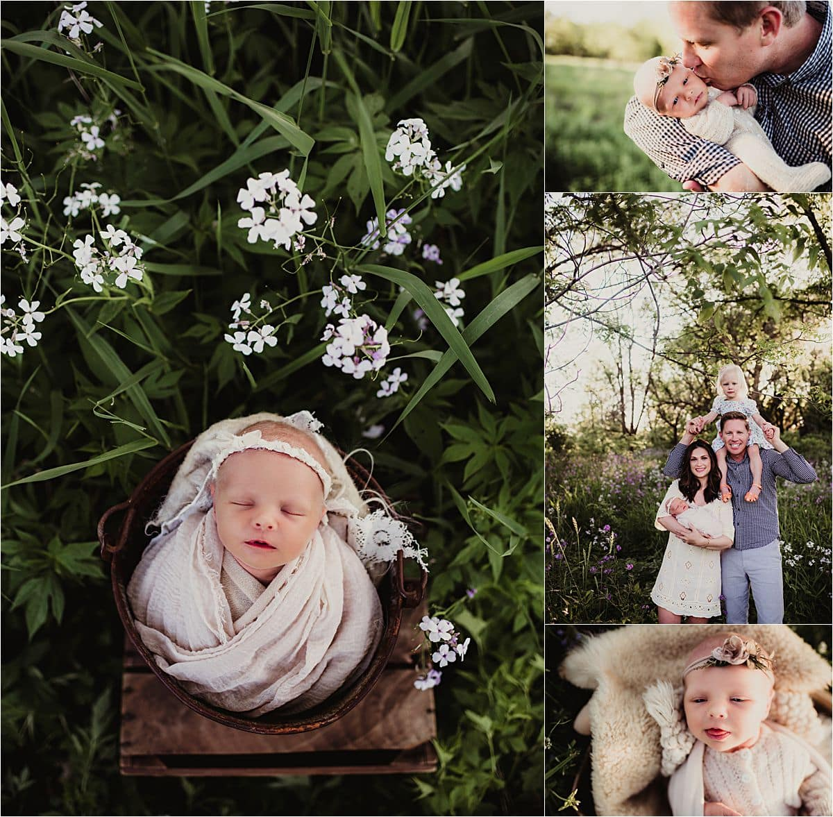 Collage Newborn Girl and Family