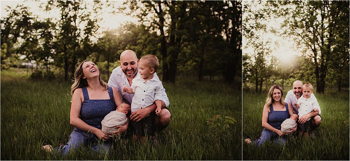 Sunset Newborn Session with Family