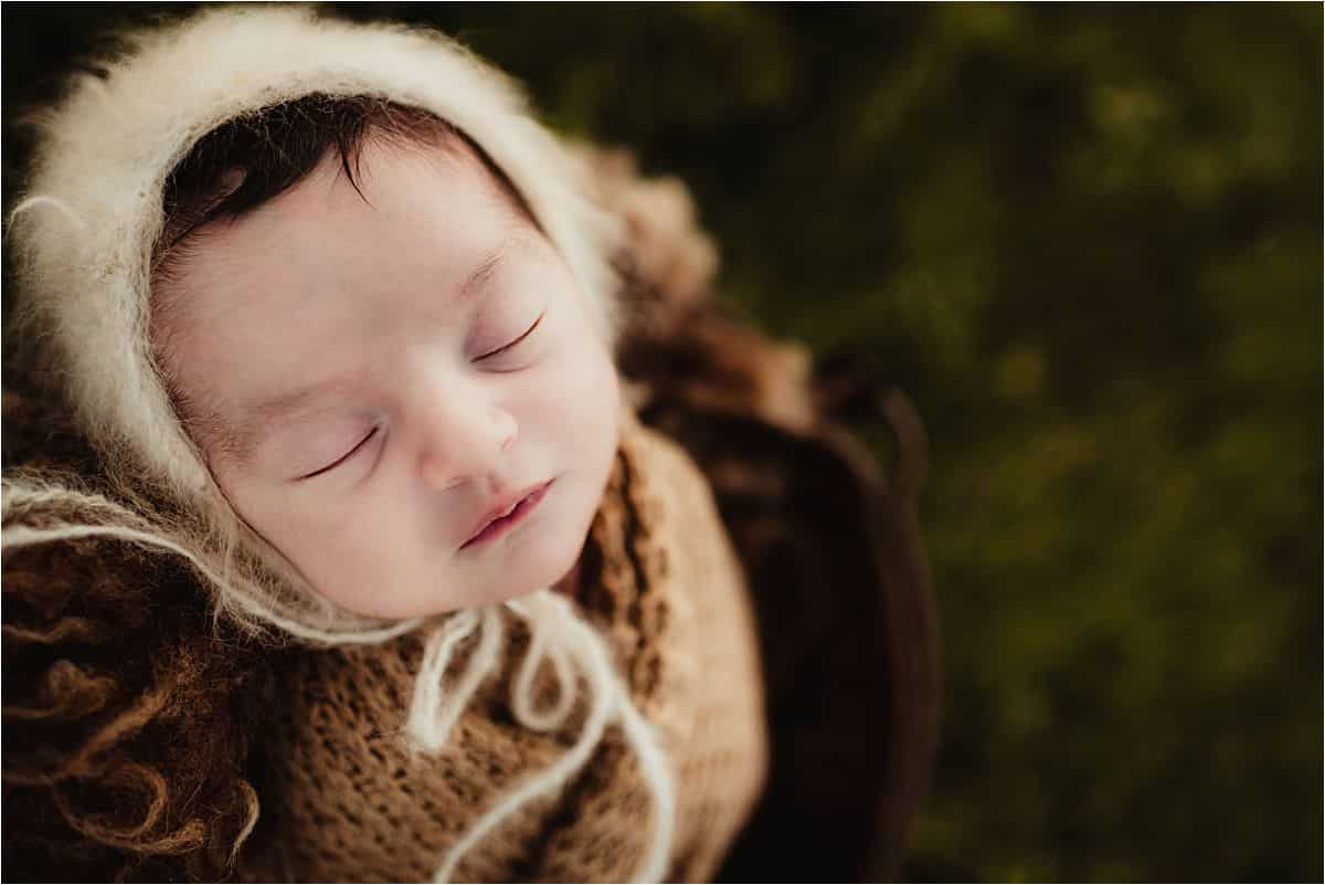 Spring Outdoor Newborn Boy in Hat