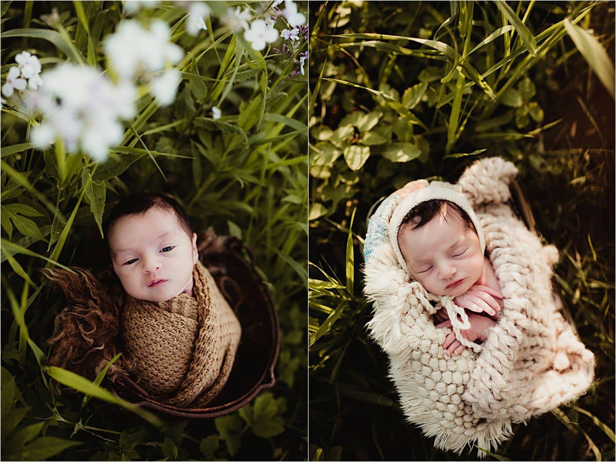Spring Outdoor Newborn Boy in Field