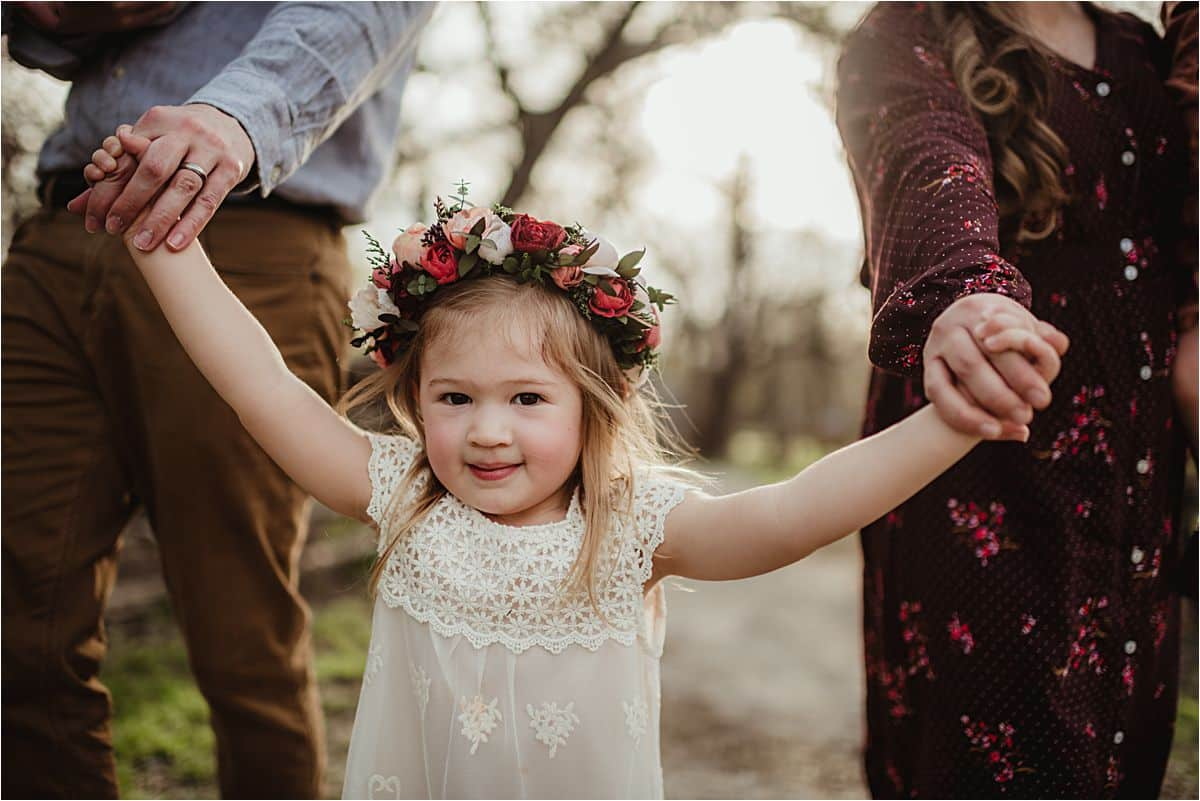 Close Up Little Girl Floral Crown