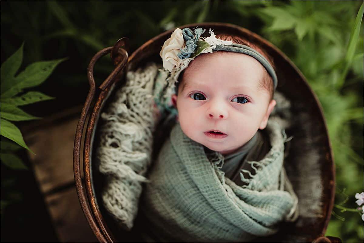 Close Up Newborn Girl Eyes Open