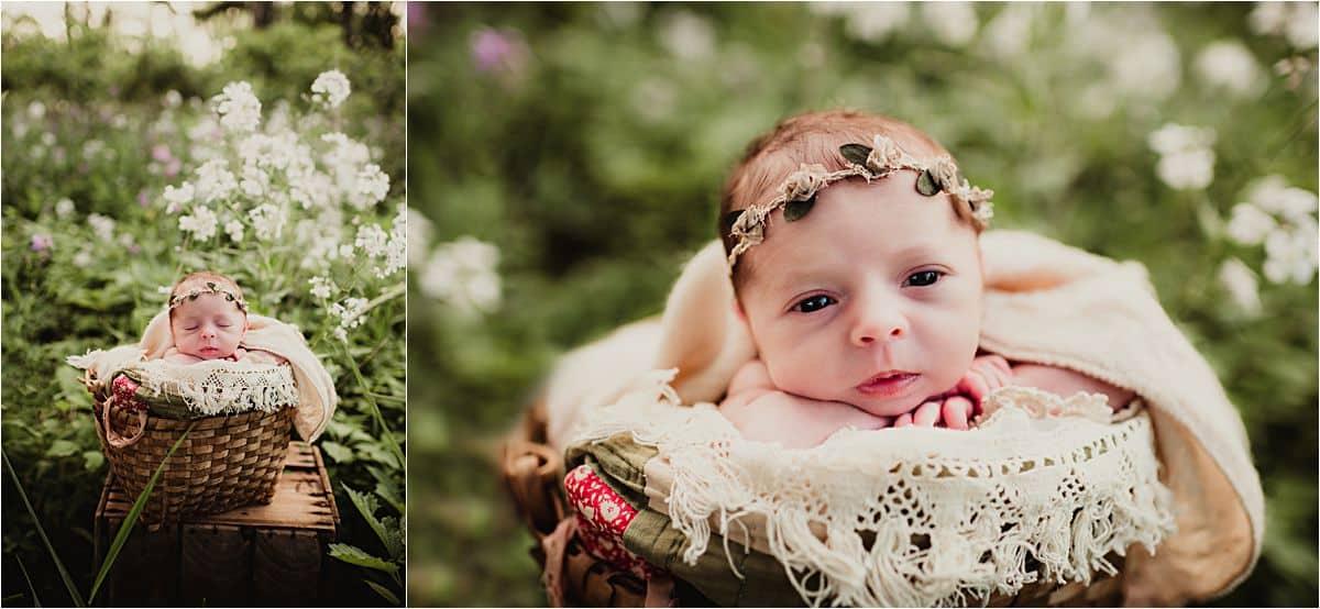 Summer Blooms Newborn Session jNewborn in White Flowers