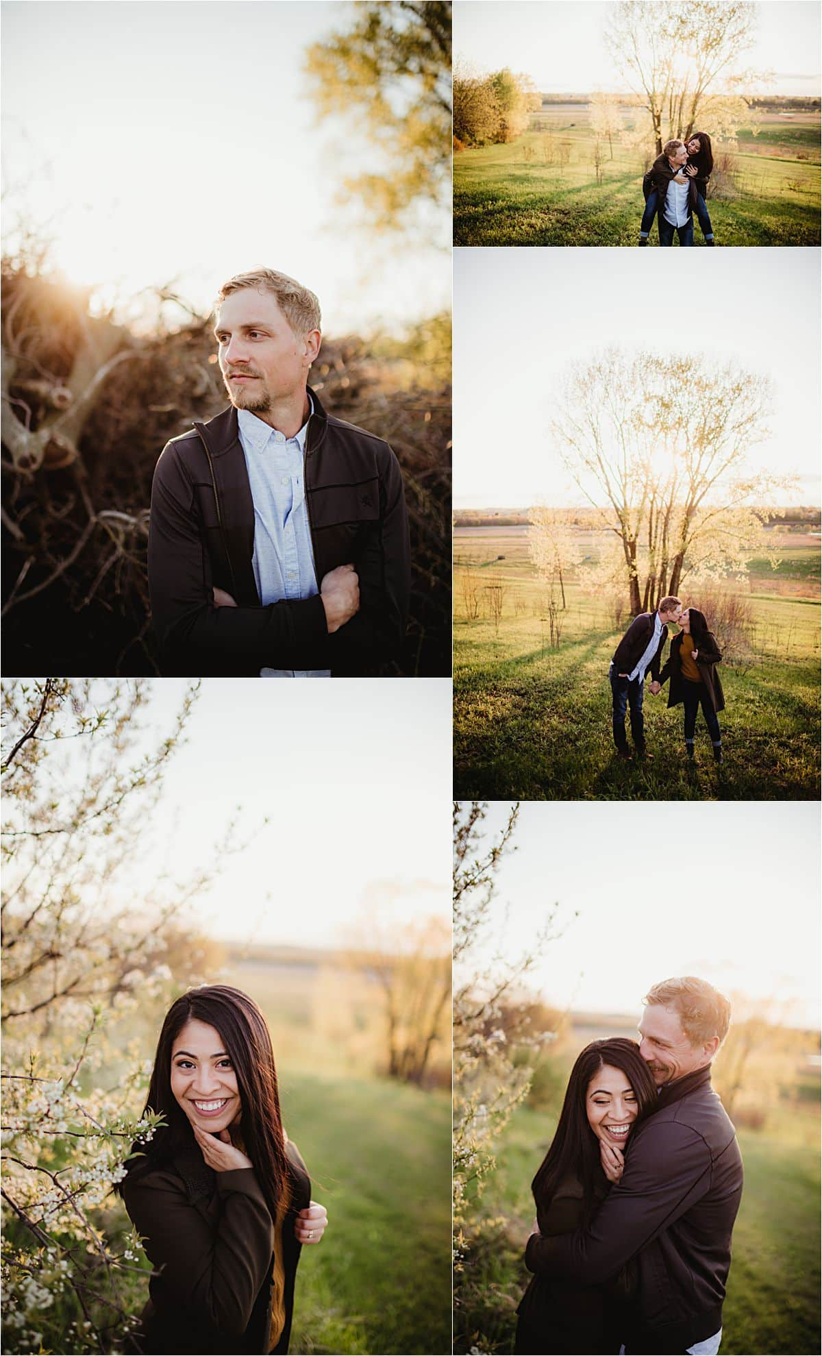 Romantic Sunset Engagement Session Couple at Sunset in Field