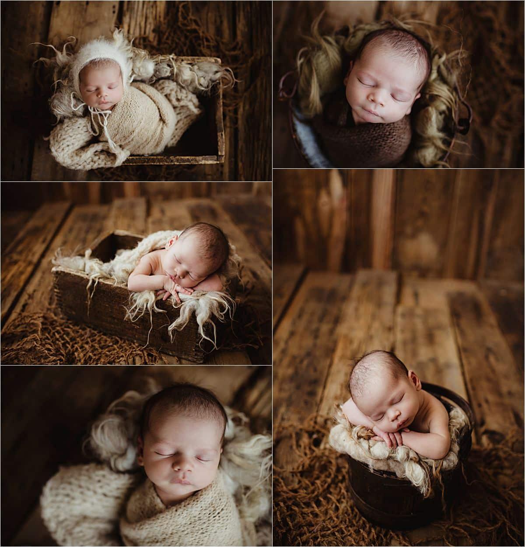 Rustic Newborn Boy Session Neutral Wraps