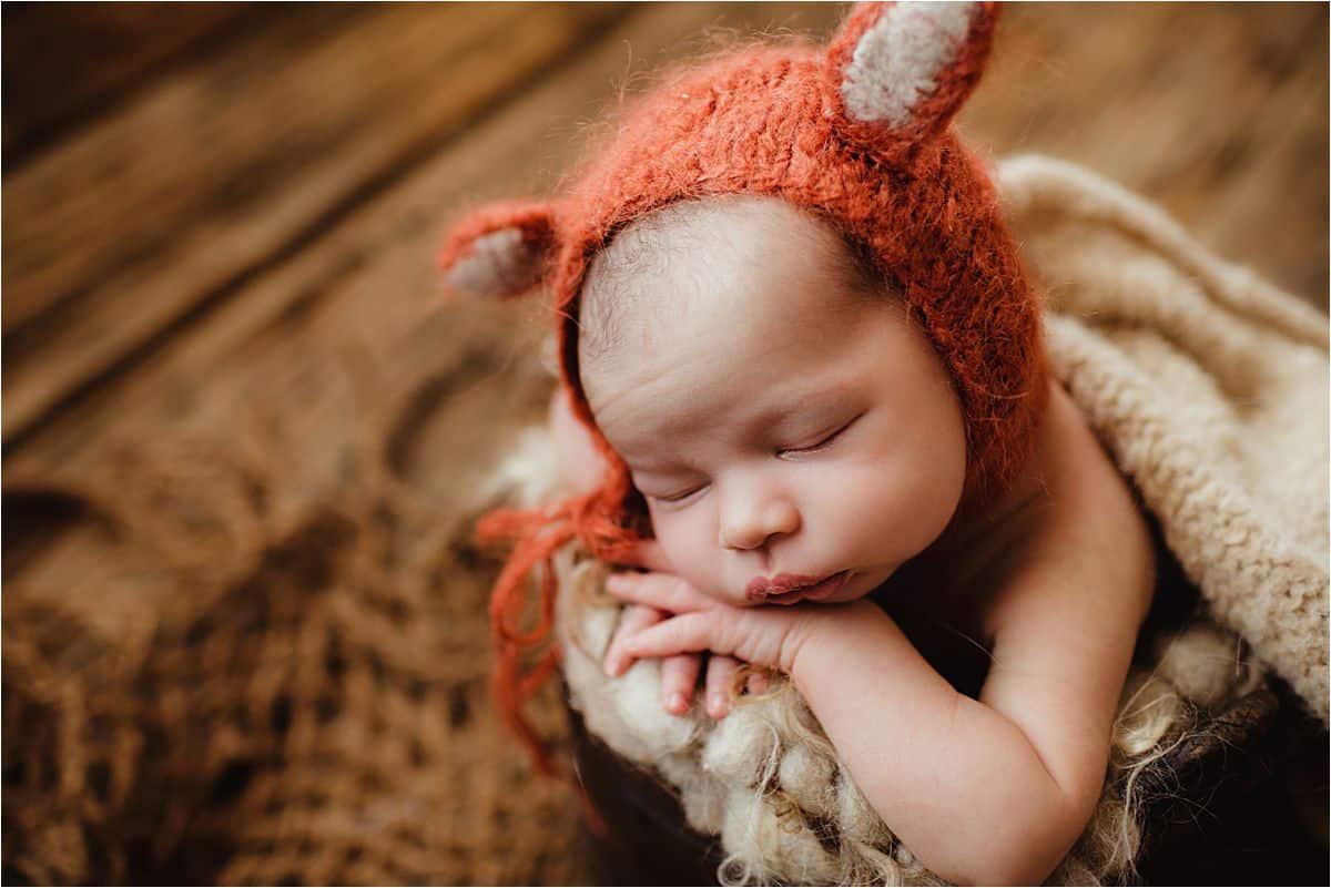 Rustic Newborn Boy Session Newborn in Fox Hat