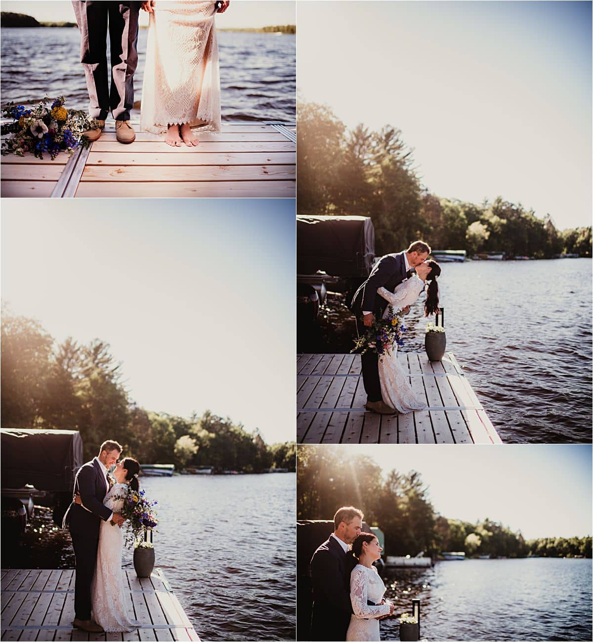 Northwoods Lakefront Summer Wedding Couple on Pier at Sunset