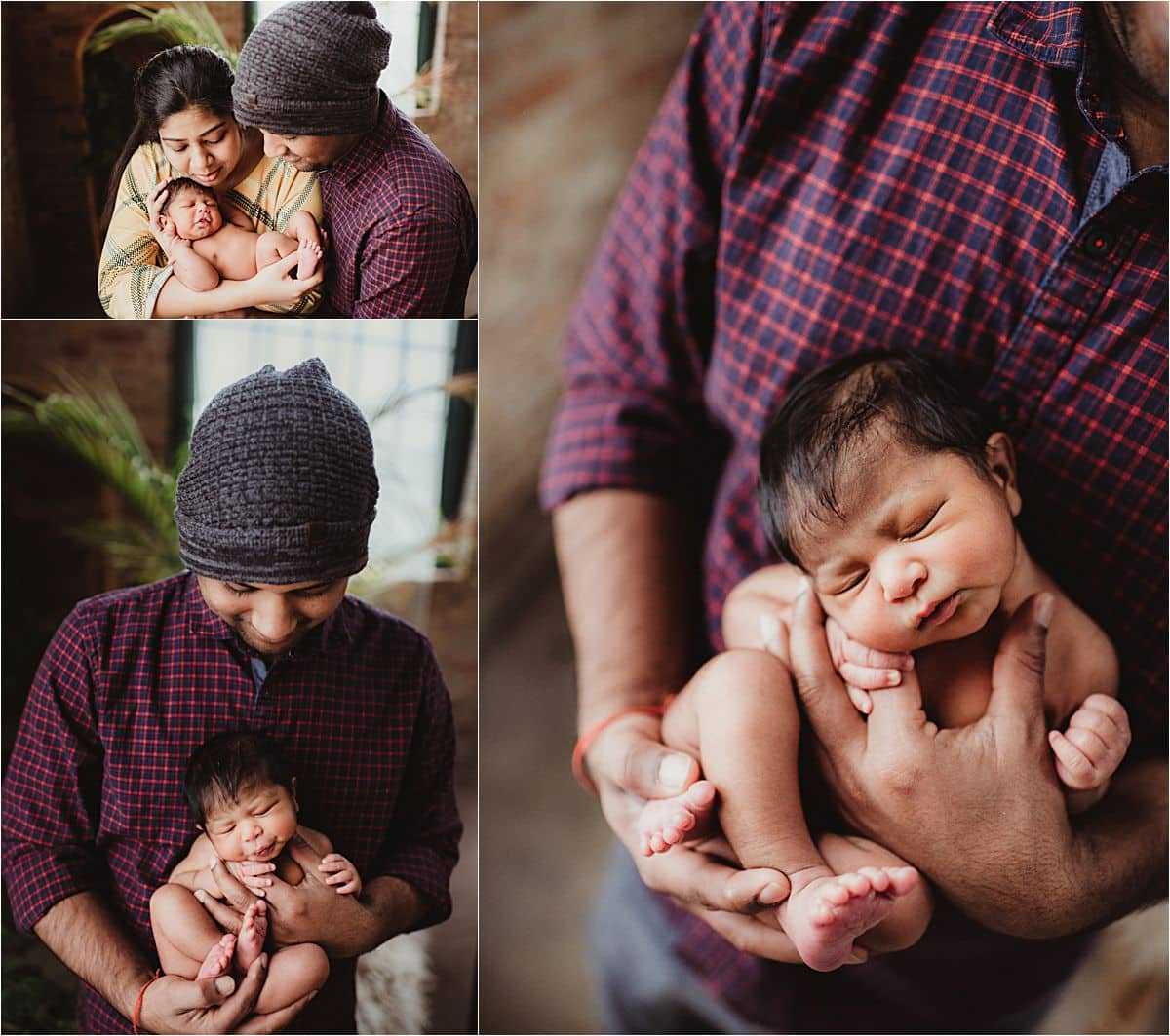 Newborn Rustic Studio Session with Parents