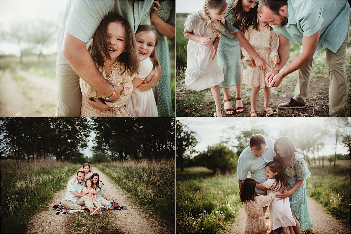 Spring Wetland Family Session Collage Family on Path