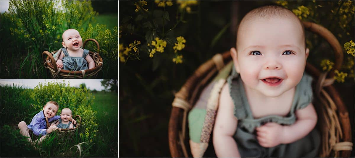 Spring Family Session Close Up Baby Girl in Basket