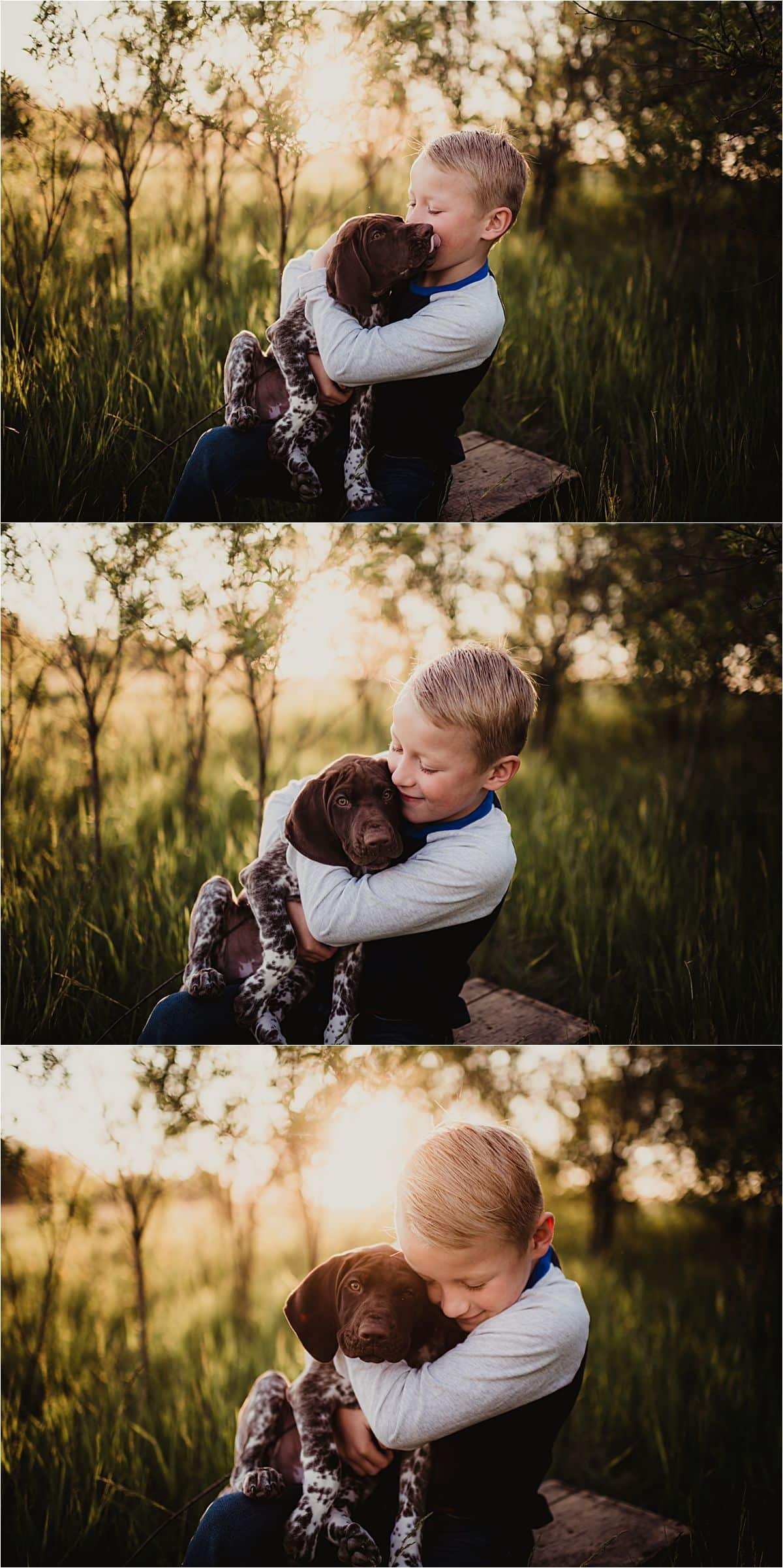 Spring Sunset Family Session Boy Hugging Dog