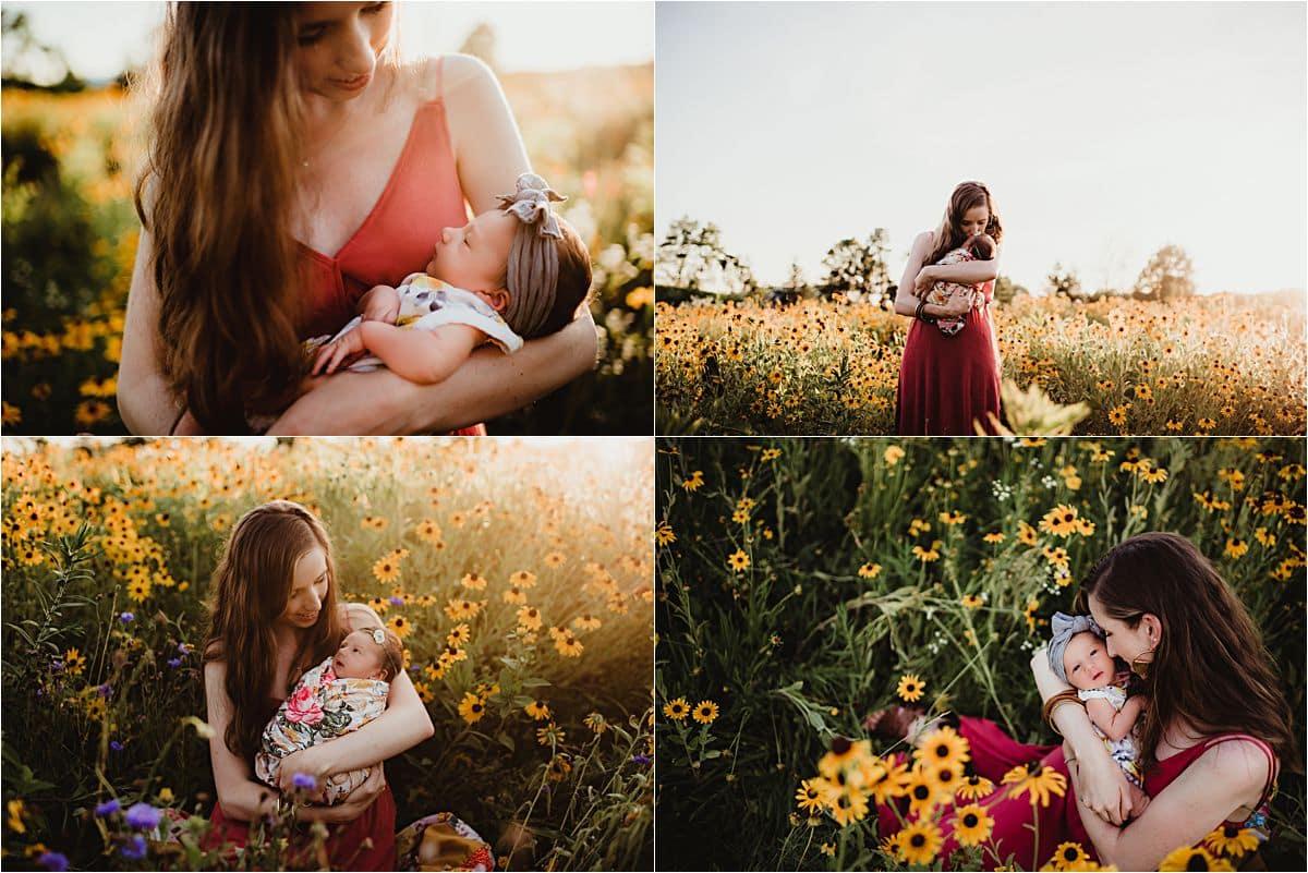 Collage Mama with Newborn in Field