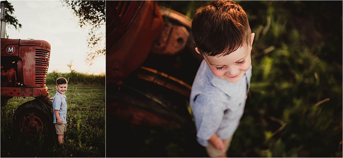 Farmstead Family Session Little Boy by Tractor