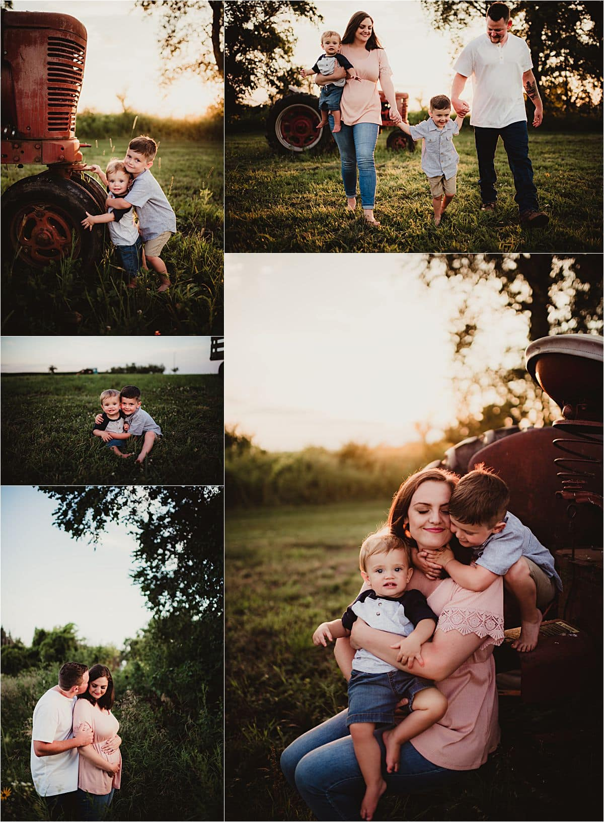 Farmstead Family Session Family Snuggles at Sunset
