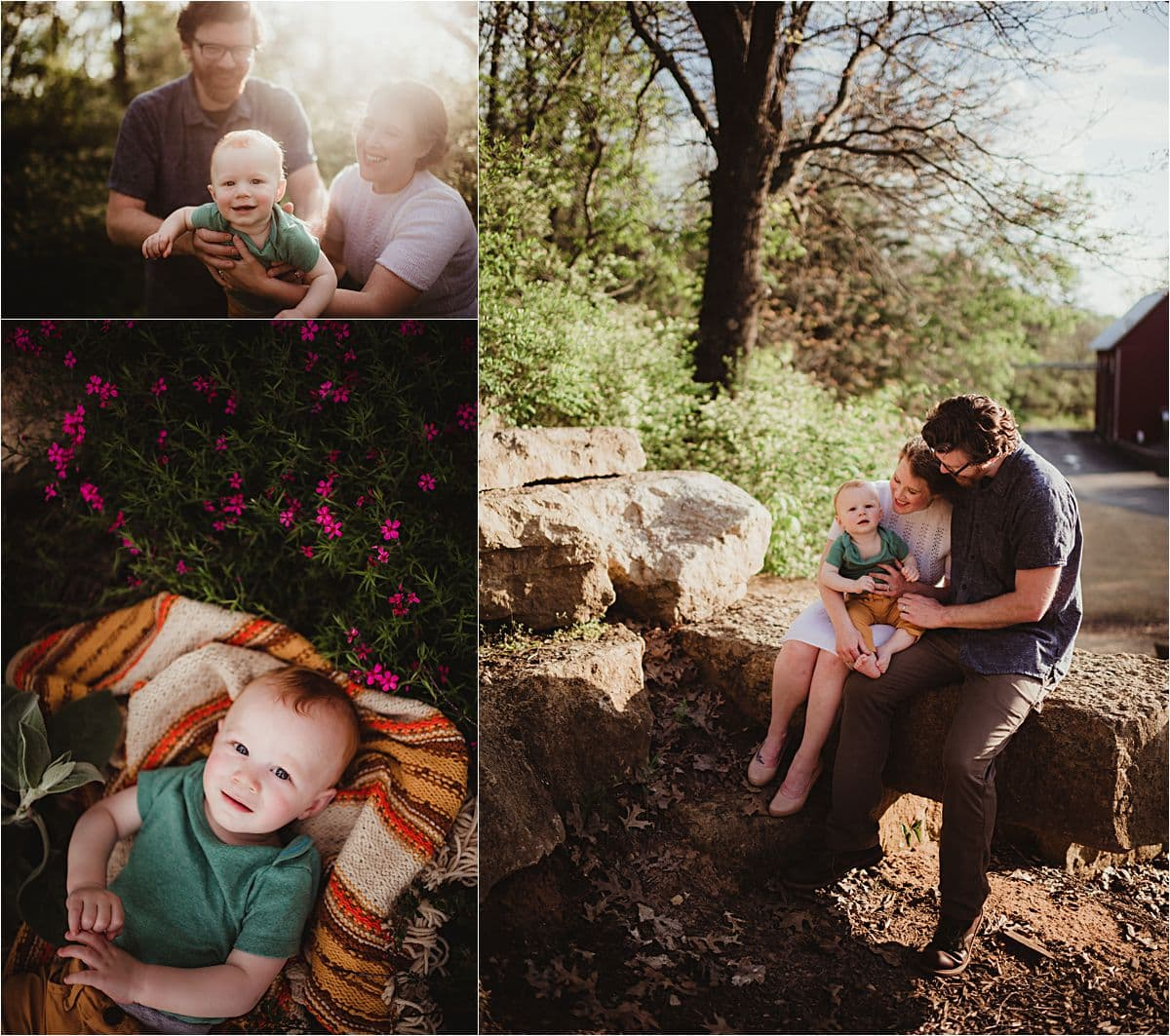 Sunset Spring Family Session Collage Family Snuggling