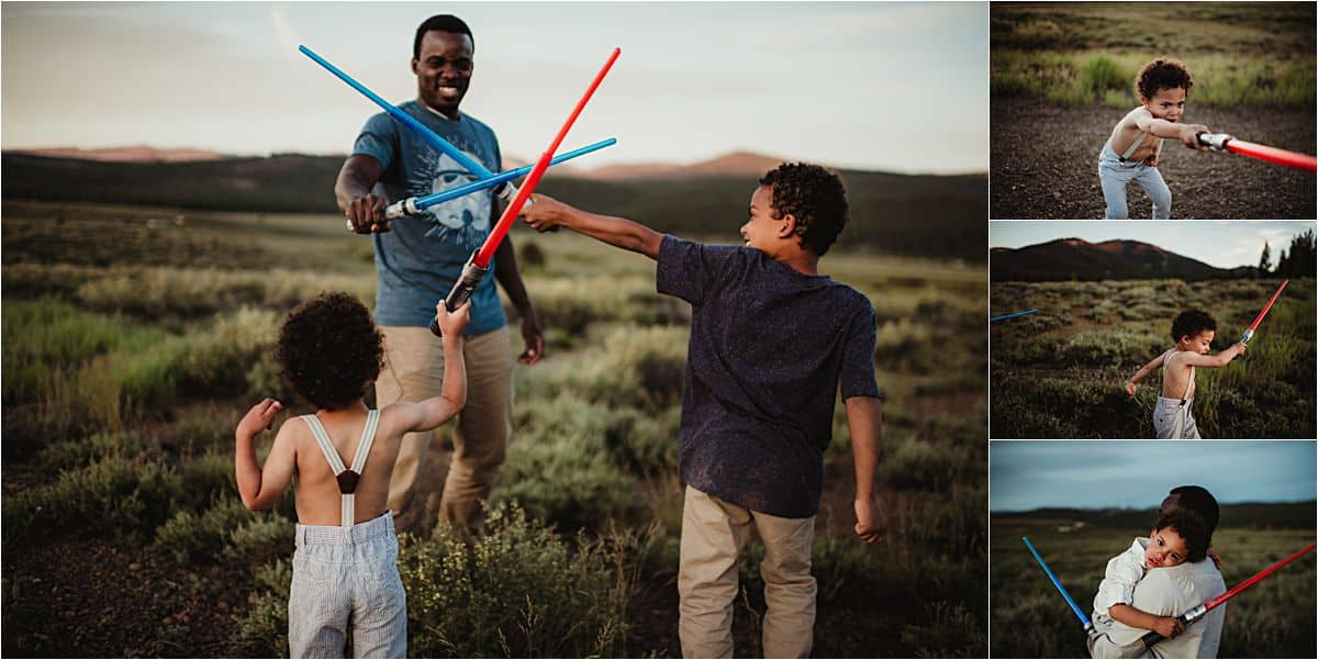 Boys Light Saber Fight with Dad