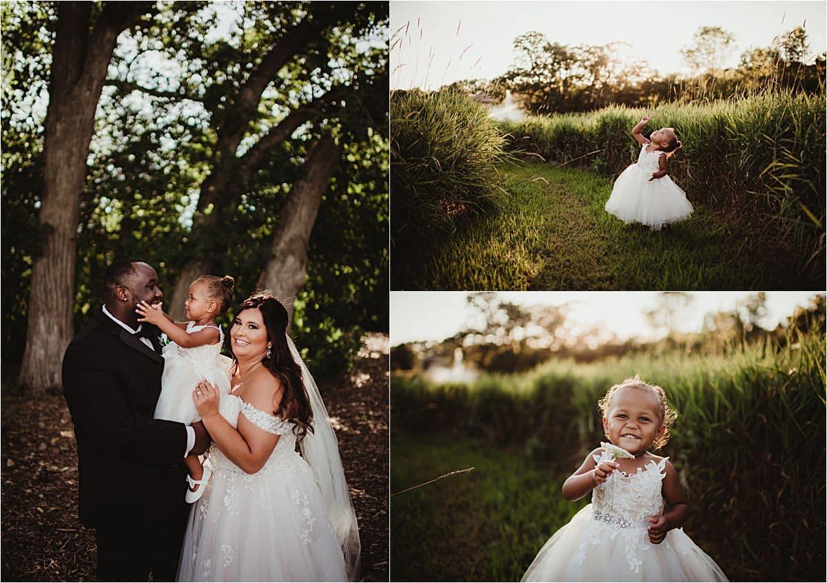 Outdoor Wisconsin Summer Wedding Couple with Daughter