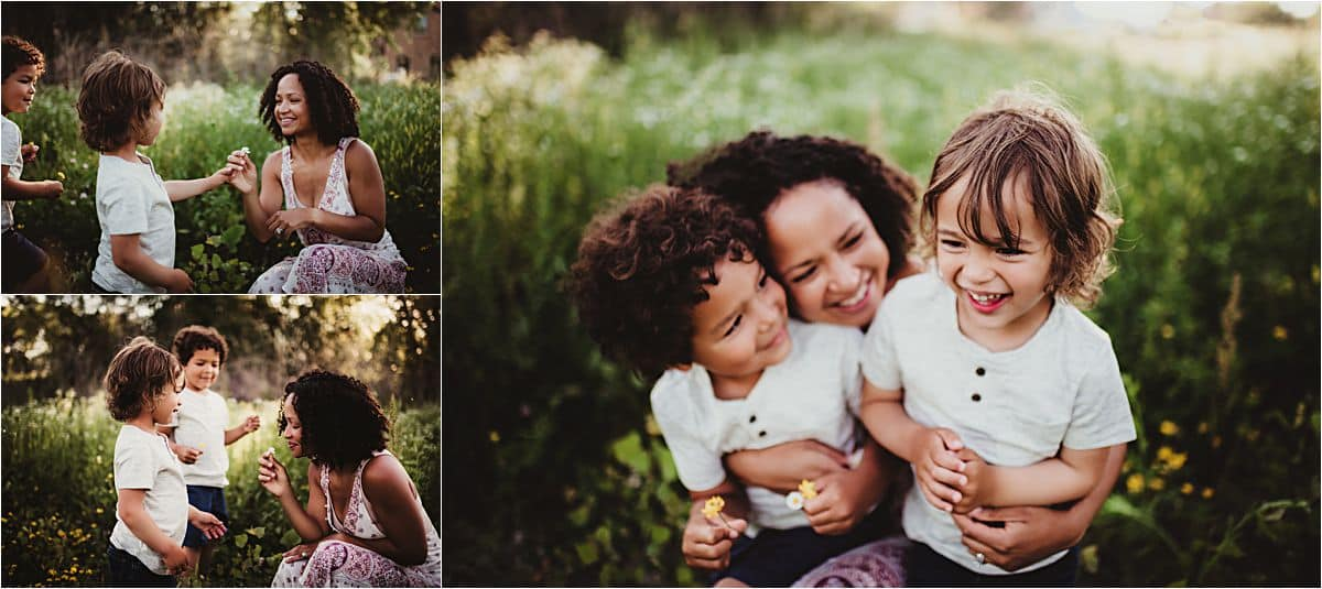 Urban Flower Field Session Mama with Boys