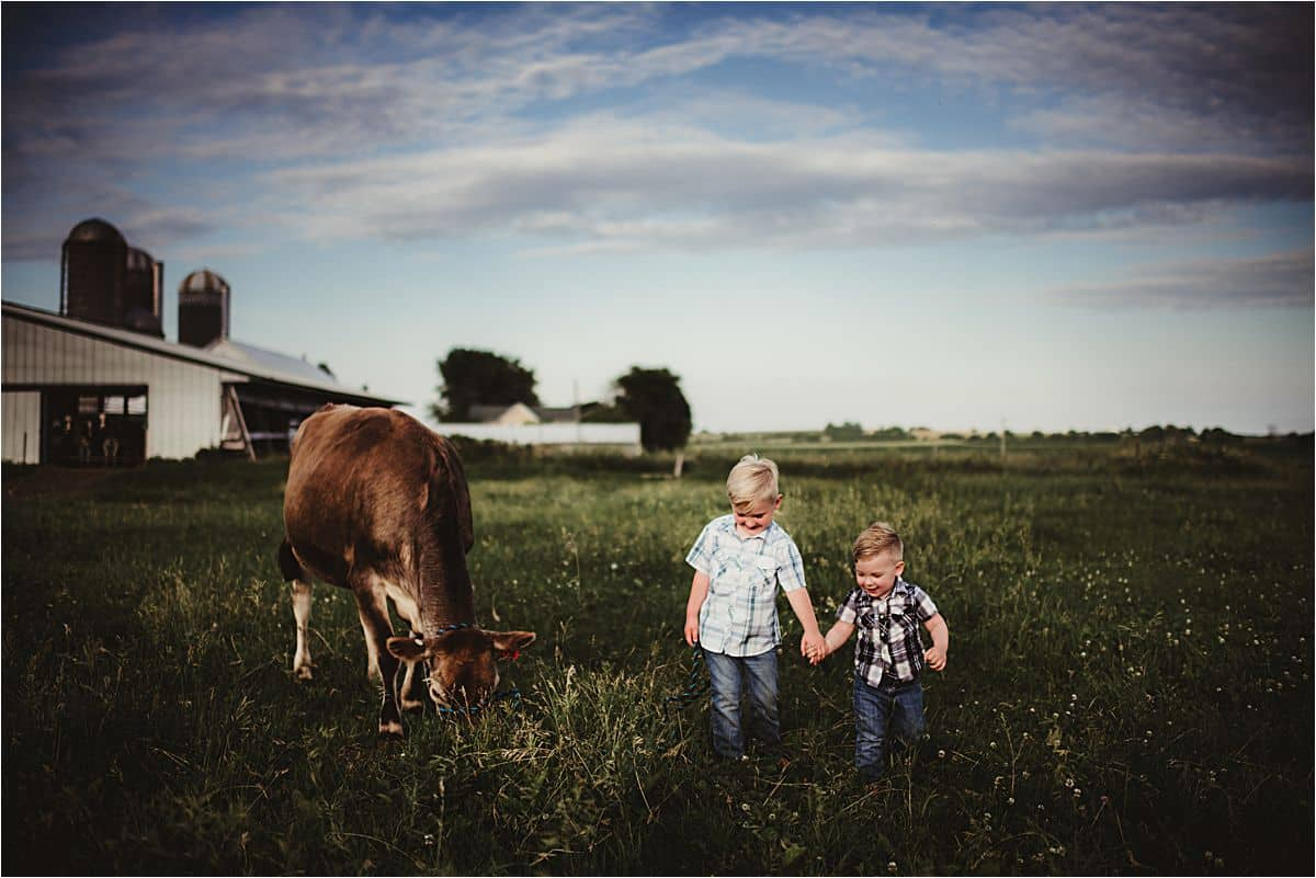 Brothers in Field with Cow