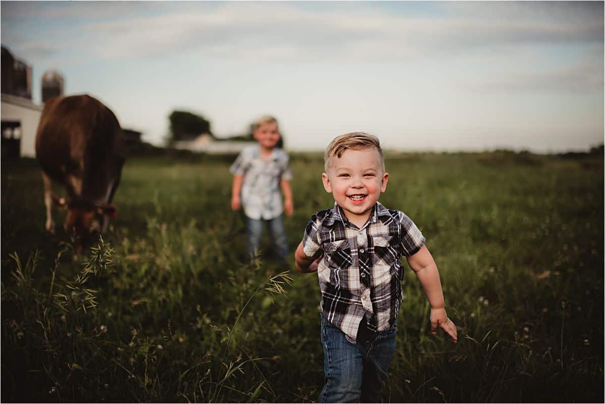 Family Farm Session Little Boy Running