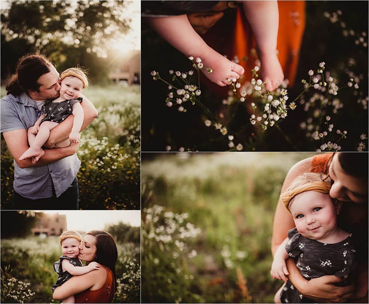 Summer Wildflower Family Session Collage of Parents with Baby