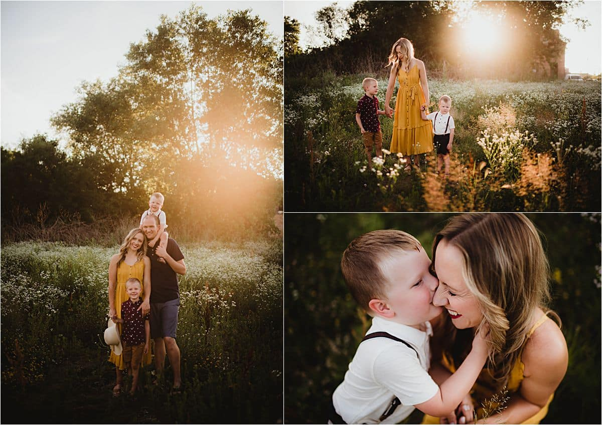 Summer Wildflower Session Family Snuggles at Sunset